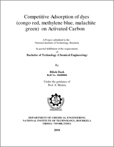thesis on adsorption of dyes 1 comparative adsorption of methylene blue and congo red dyes onto coconut husks, mangrove and polylactide blended films by shee ali i56/70024/2011.