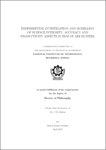 phd thesis on electrical discharge machining