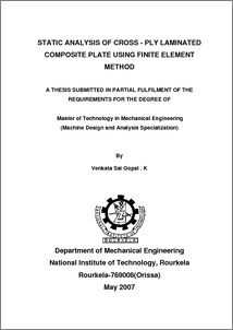 Static analysis of cross-ply laminated composite plate using finite