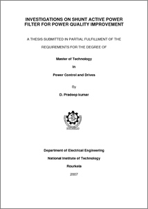 "thesis on power quality issues Ii i declare that this thesis entitled ""analysis of grounding and harmonics in  power quality issues"" is the result of my own research except as."