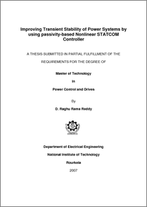 thesis on statcom Master thesis on analysis of power system stability by using optimally located svc and statcom xr‐ee‐es 2009:010 thesis examiner: mehrdad.