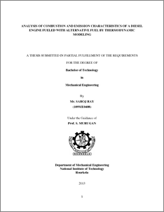 thesis of diesel engine Graduate theses and dissertations graduate college 2009 parametric study and optimization of diesel engine operation for low emissions using different injectors.