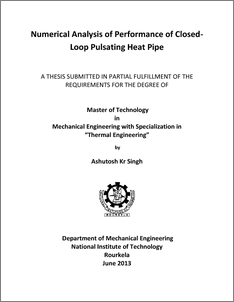 pulsating heat pipe thesis 4 sand2012-4750 unlimited release printed january 2013 computational model of miniature pulsating heat pipes m j martinez and r c givler engineering sciences center.
